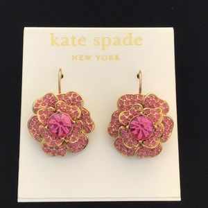 NWT kate spade pink and gold flower earrings